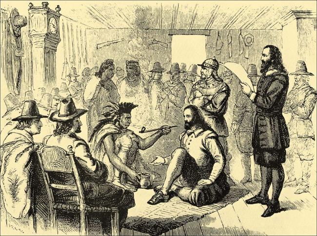 Massasoit y el gobernador John Carver fumando la pipa dela  paz