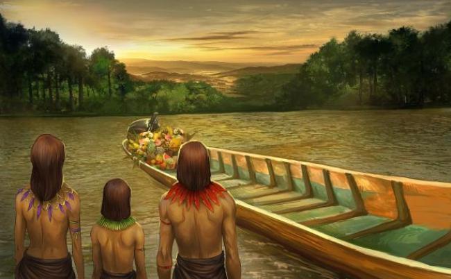 """Indígeneas rinden tributo al """"ser viviente"""", el motor de la embarcación"""